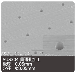 SUS304への微細貫通穴加工:(株)リプス・ワークス