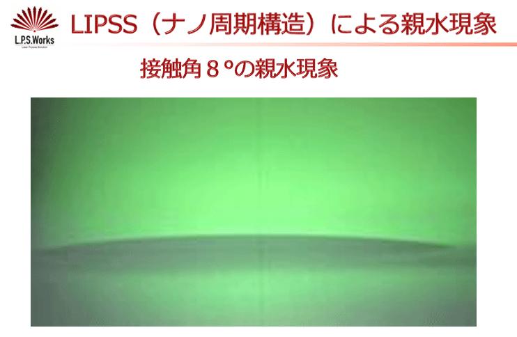 LIPSS(ナノ周期構造)によるsinsui親水:㈱リプス・ワークス