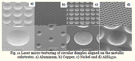 Fig. 11 Laser micro-texturing of circular dimples aligned on the metallic substrates. a) Aluminum, b) Copper, c) Nickel and d) AISI430.