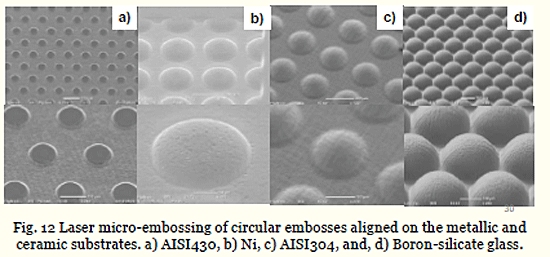 Fig. 12 Laser micro-embossing of circular embosses aligned on the metallic and ceramic substrates. a) AISI430, b) Ni, c) AISI304, and, d) Boron-silicate glass.
