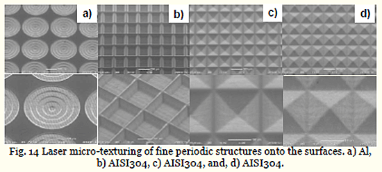 Fig. 14 Laser micro-texturing of fine periodic structures onto the surfaces. a) Al, b) AISI304, c) AISI304, and, d) AISI304.