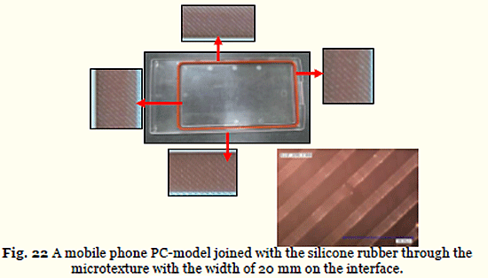 Fig. 22 A mobile phone PC-model joined with the silicone rubber through the microtexture with the width of 20 mm on the interface.