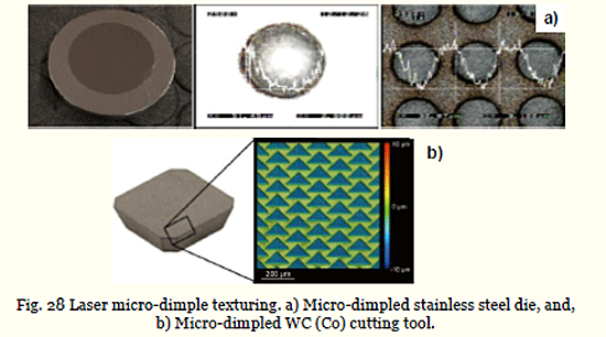 Fig. 28 Laser micro-dimple texturing. a) Micro-dimpled stainless steel die, and, b) Micro-dimpled WC (Co) cutting tool.