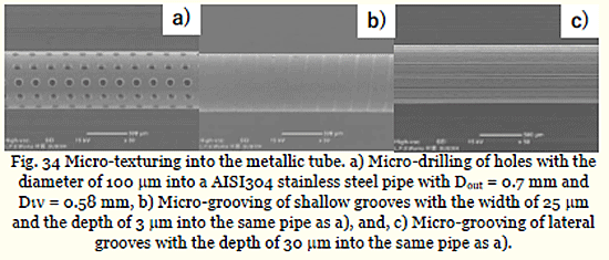 Fig. 34 Micro-texturing into the metallic tube. a) Micro-drilling of holes with the diameter of 100μm into a AISI304 stainless steel pipe with Dout = 0.7 mm and Dout= 0.58 mm, b) Micro-grooving of shallow grooves with the width of 25μ mand the depth of 3μm into the same pipe as a), and, c) Micro-grooving of lateral grooves with the depth of 30μm into the same pipe as a)